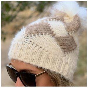 Taupe Faux Rabbit Fur Winter Beanie Hat